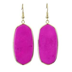 Gold Plated Hot Pink Earrings